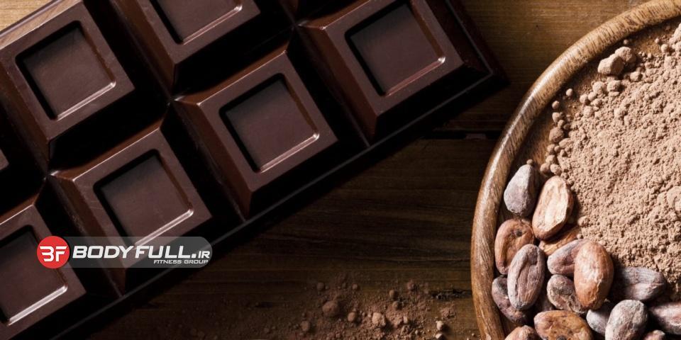 شکلات تلخ سیاه پروتئینی بدون پخت